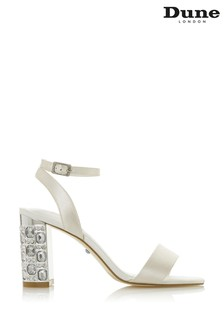 Dune London Mine Ivory Satin 2 Part Block Heel Sandals