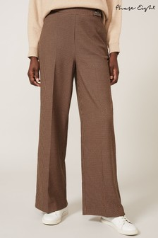Phase Eight Black Vye Dogtooth Wide Leg Trousers