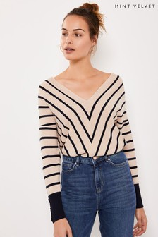 Mint Velvet Camel Chevron Striped Jumper