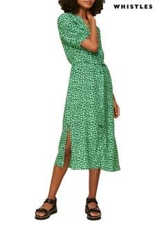Whistles Green Giraffe Print Midi Dress