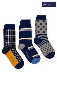 Joules Blue Striking Socks Three Pack