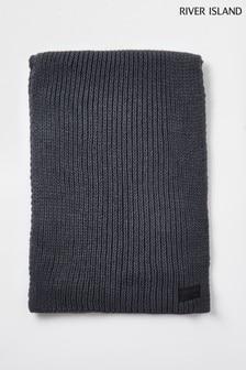 River Island Grey Dark Rubberised Rib Knit Scarf