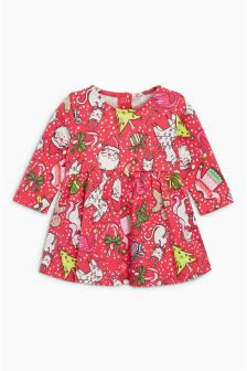 圣诞节印花连衣裙 (0个月-2岁)