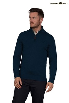 Raging Bull Navy Knit Cashmere Zip Jumper