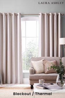 Laura Ashley Dove Grey Awning Stripe Eyelet Curtains