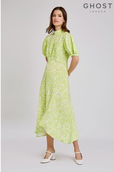 Ghost London Green Jenna Penny Stencil Floral Crepe Dress
