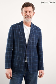 White Stuff Blue St Edmunds Check Linen Blazer
