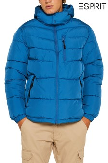 Esprit Blue Winter Padded Jacket With Removable Hood