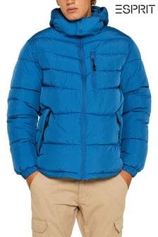 Modrá zimní prošívaná bunda s odepínací kapucí Esprit
