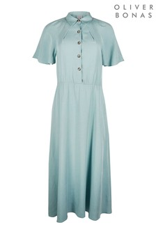 Oliver Bonas Green Angel Sleeve Blue Midi Shirt Dress