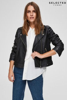 Selected Femme Black Leather Katie Biker Jacket