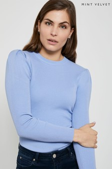 Mint Velvet Blue Puff Shoulder Rib Jumper