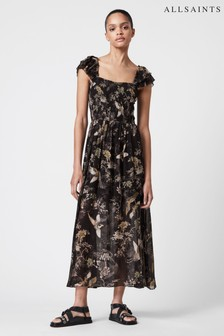 AllSaints Black Mali Floral Long Dress