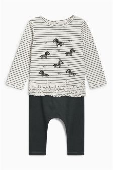 Zebra Jersey T-Shirt And Leggings Set (0mths-2yrs)