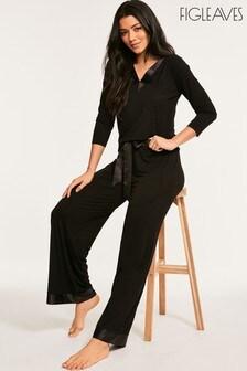 Figleaves Black Camelia Classic Pyjama Set