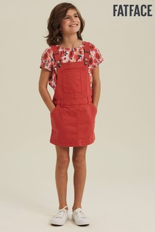 FatFace Red Coloured Denim Pinafore Dress