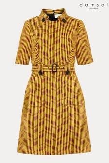 שמלה בעלת מרקם דגםDoria בצבע צהוב שלDamsel In A Dress