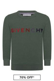 Boys Khaki Cotton Logo Sweater