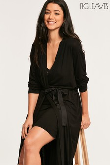 Figleaves Black Camelia Long Robe