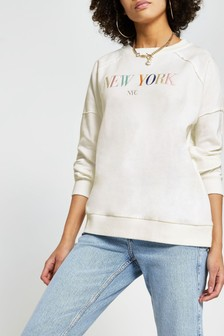 River Island White New York Embroidered Sweat Top