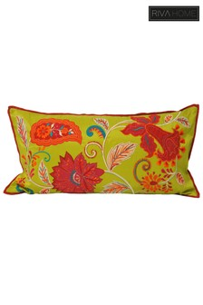 Riva Home Green Faux Silk Floral Embroidered Cushion