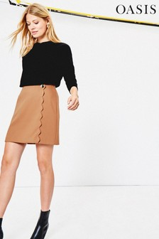 Oasis Natural Scallop Mini Skirt