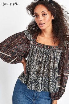 Free People Black Mostly Meadow Blouse