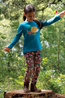 Frugi Purple Floral GOTS Organic Comfy Jersey Trousers