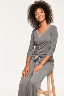Figleaves Grey Camelia Soft Touch Pyjama Set