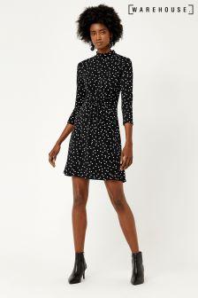 Warehouse Black Spot Channel Dress