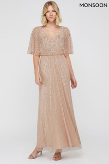 Monsoon Pink Tabitha Embellished Maxi Dress