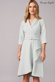Phase Eight Light Blue Jaiden Belted Flared Skirt Dress