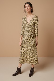 Print Ditsy Wrap Dress