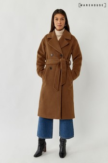 Warehouse Tan Textured Belted Coat