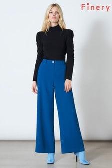 Finery London Blue Ashbridge Trousers In Slate