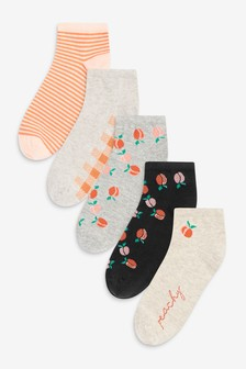 Peach Trainer Socks Five Pack