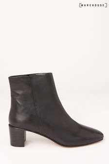 Warehouse Black Leather Square Toe Ankle Boots