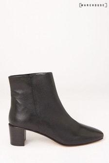 Warehouse – Schwarze Stiefeletten aus Leder
