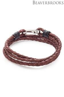 Beaverbrooks Steel Leather Brown Double Wrap Bracelet