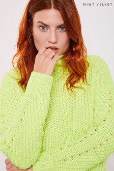 Mint Velvet Green Neon Deep Rib Crew Jumper