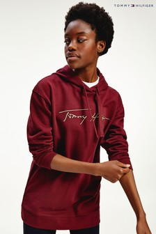 Tommy Hilfiger Red Gold Embossed Script Hoody