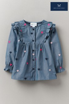 Crew Clothing Company Embroidered Ruffle Chambray Top