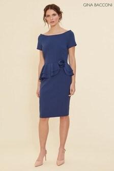 Gina Bacconi Blue Darla Crepe Peplum Dress