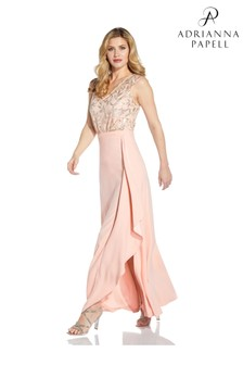 Adrianna Papell Pink Crepe Cascade Long Skirt