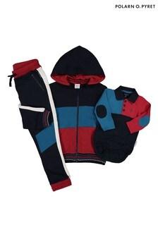 Polarn O. Pyret Blue GOTS Organic Colour Collared Bodysuit