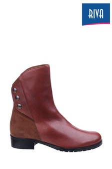 Riva Tan Buttons Ankle Boots