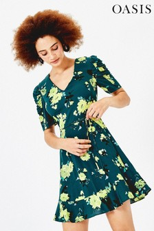Oasis Green Floral V-Neck Dress