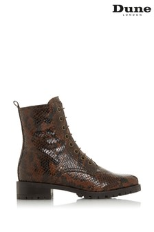 Dune London Prestone Reptile Print Leather Lace-Up Boots