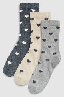 Fluffy Heart Ankle Socks Three Pack (Older)
