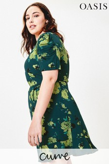 Oasis Green Curve Historical Sleeve Dress